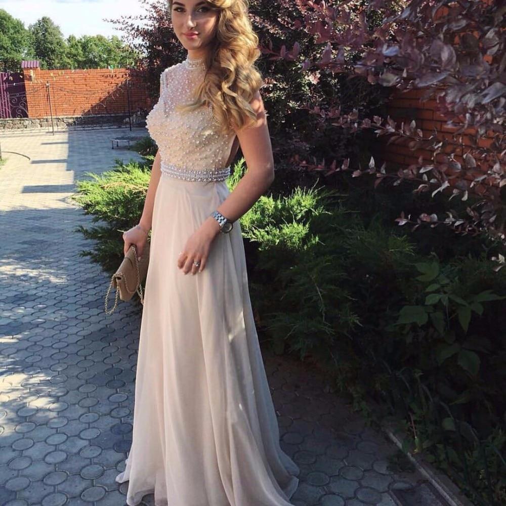 2019 robe de soirée sur mesure robes de bal une ligne haut cou perles Top Champagne mousseline de soie dos ouvert longues robes de soirée