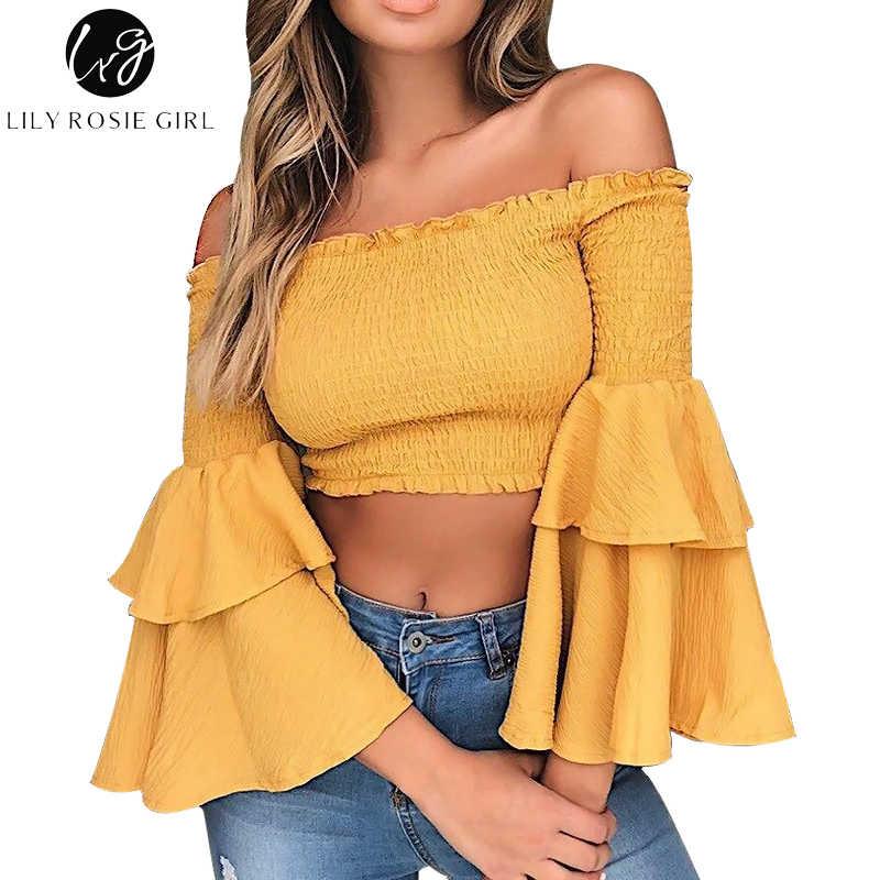 bd317d069d656 Lily Rosie Girl Off Shoulder Yellow Blouse Shirt Women Sexy Ruffle Short  Blusas Femme Butterfly Long Sleeve Summer Beach CropTop