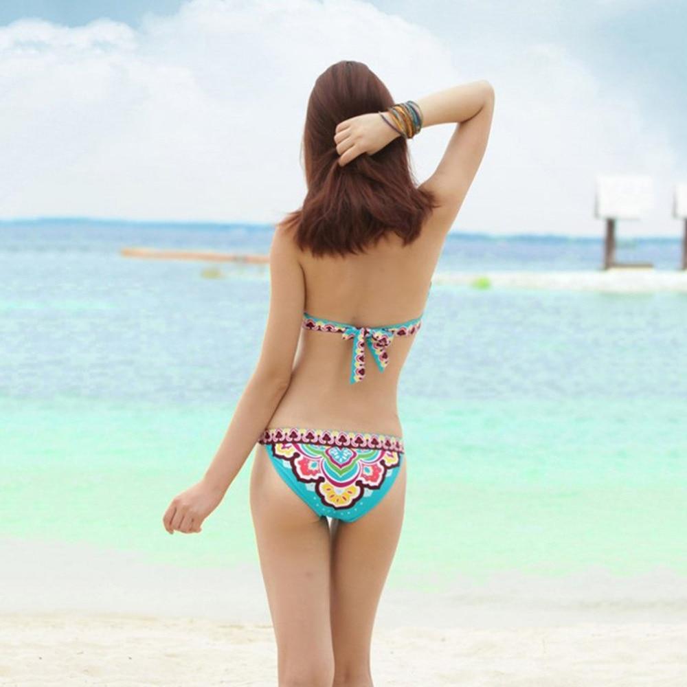 Sexy Women Brazilian Bikinis Set Beautiful Floral Printed Ladies Summer Beach Halter Top Swimming Suit Swimwear