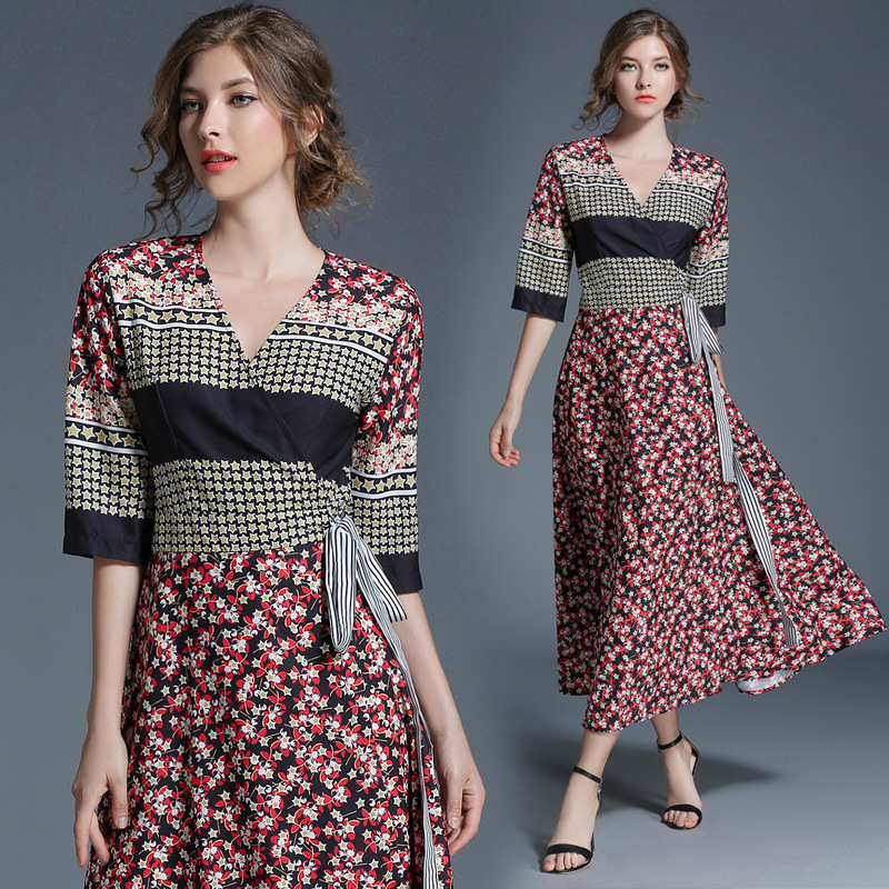 UTMEON Red Black Floral Printed Tie Belt V-neck Sleeves Thin Waist Sleeves Long Dress