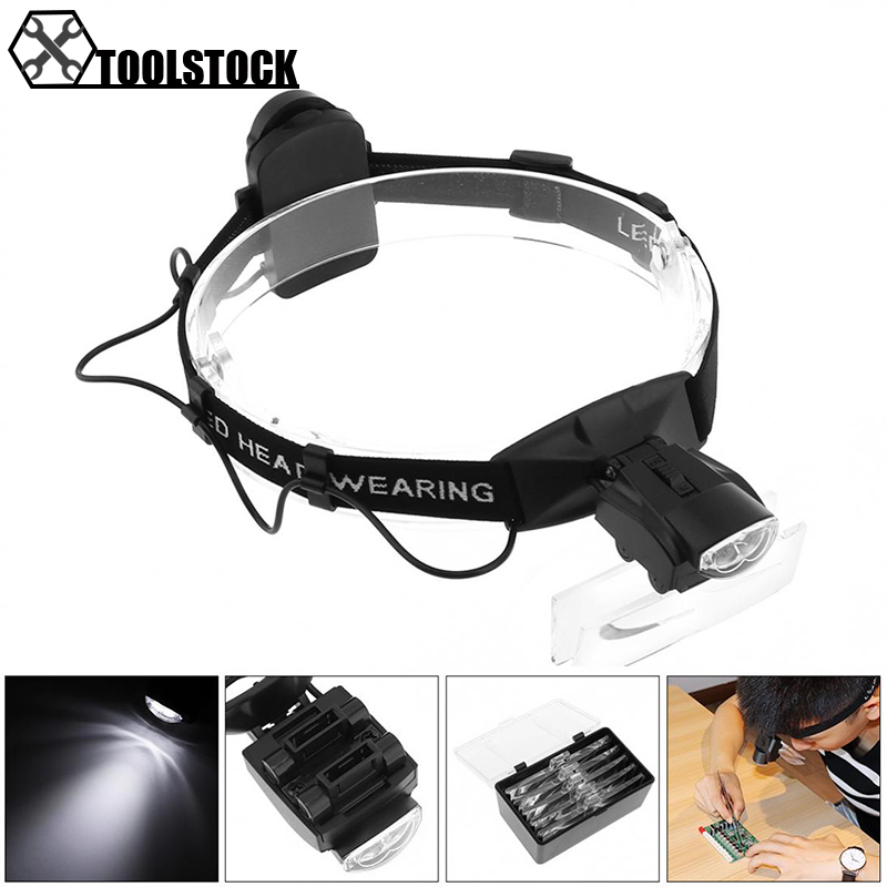 Cabeça Lupa 1.0X1.5X2.0X2.5X3.5X5 Ajustável Headband Lupa Lupa Óculos Lente Óptica olho de vidro Lupa Reparação