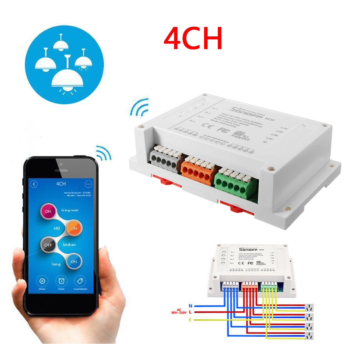 Sonoff 4Channel Smart Wifi Switch DIY Smart Wireless Remote Switch Domotica Wifi Light Switch Smart Home Automation Controller itead sonoff smart wifi switch diy smart wireless remote switch domotica wifi light switch smart home controller work with alexa
