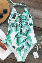 New Women Sexy Bikini Set Push Up Halter Backless Leaf Print