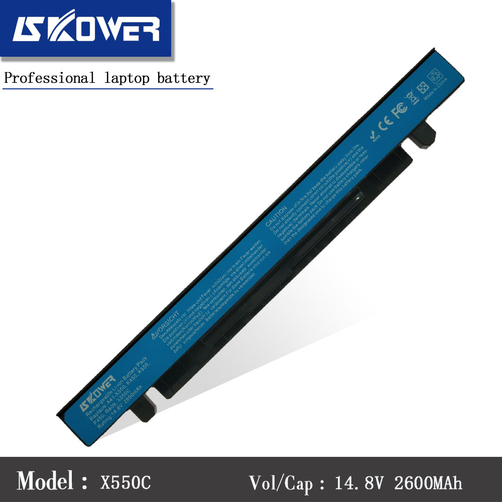 SKOWER A41-X550A Laptop Battery For ASUS A41-X550 X450 X550 X550C X550B X550V X550D X450C X550CA 14.8V 2600mAh jigu laptop battery for asus a41 x550 a41 x550a x550 x550c x550b x550v x550d x450c x452 4 cells