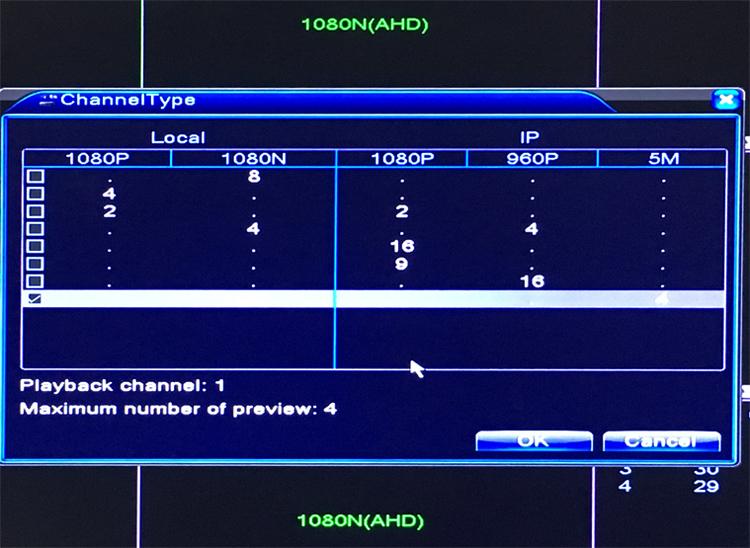 1080n 5 in  1 8ch 8 channel hybrid ahd tvi cvi nvr cctv dvr channel type picture