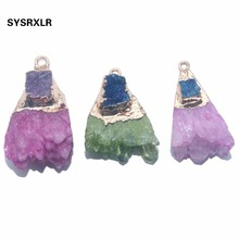 1 PCS Natural Crystal Druse Golden Plated Irregular Geode Stone Pendant Women Charm DIY Necklaces Earrings For Jewelry Making