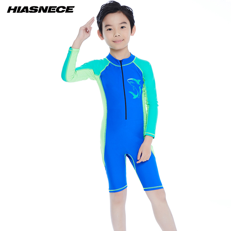 Boys one piece sport swimming suit professional training competition swimwear 2018 new kid's sun-proof beach bathing suits 5-12Y