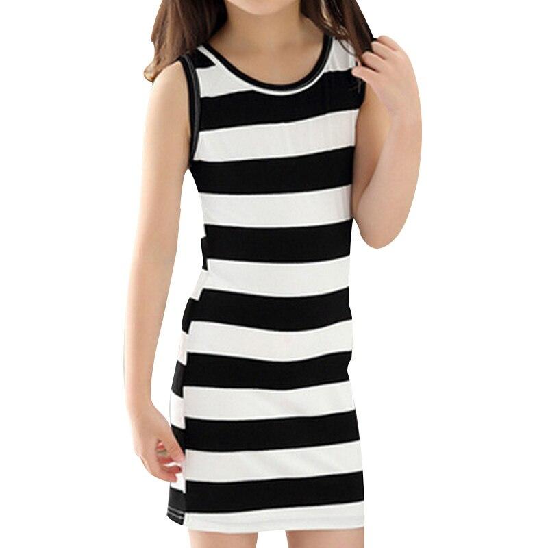 Venta caliente de Los Niños Muchachas de la Ropa de Rayas Blanco Y Negro de Verano Vestido de la muchacha de 100% Algodón 3-14 Niños Chaleco Vestidos para Adolescentes niñas