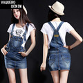 Leather Skirt Cotton Midi Real Special Offer 2015 Preppy Style Suspender Above Knee Mini Straight Wrapped Hip Denim Overalls 629