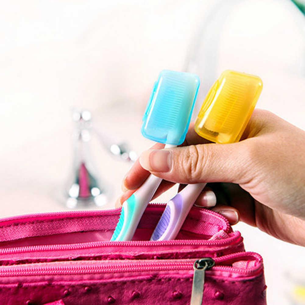 5 sztuk kolorowe podróży głowica szczoteczki do zębów uchwyt pokrywy skrzynka Cap dla piesze wycieczki Camping do przechowywania głowica szczoteczki do zębów pokrywy akcesoria łazienkowe