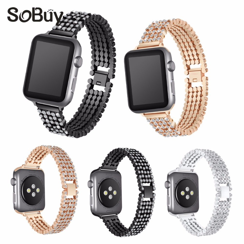 So buy diamond alloy stainless steel Link bracelet for apple watch iwatch 1/2/3 series band 42/38 mm wirst strap metal watchband