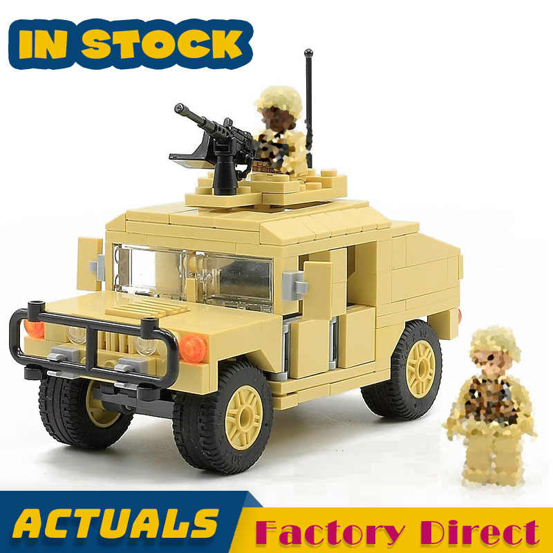 HUMVEE Armament Cargo Troop Carrier Technic Army Truck Building Blocks Military War Vehicle Car Toy Bricks Compatible legoed