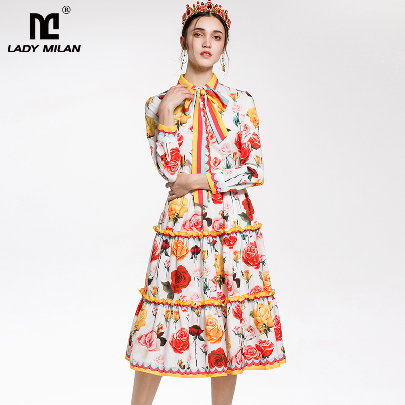 New Arrival 2018 Womens Turn Down Sash Bow Detailing Printed Shirt with Ruffles Floral Skirts Fashion Designer Dresses Sets