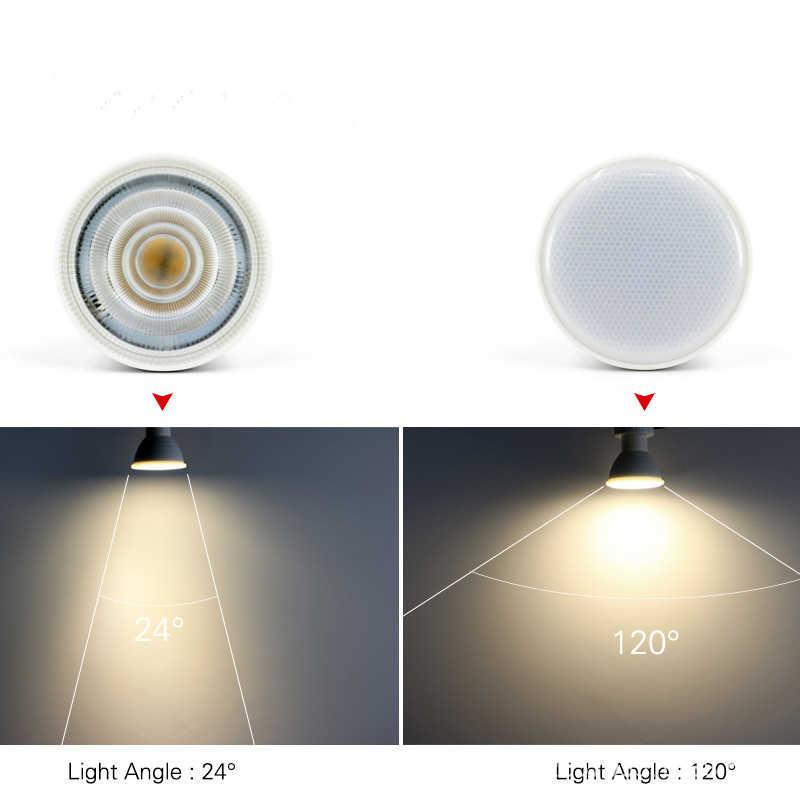 הכי חדש GU10 MR16 LED הנורה זרקור 220 v 6 w COB שבב קרן זווית 120/24 פלסטיק אלומיניום מגניב/חם לבן ספוט אור שולחן תקרה
