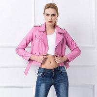 2016 New Fashion PU Leather Jacket Women Slim Fit Pink Motorcycle Jacket Women Chaquetas De Cuero