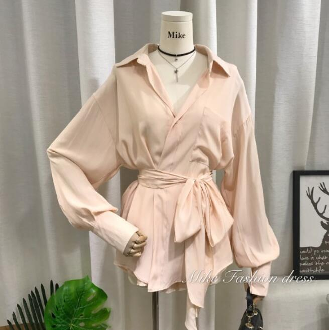 2019 New Spring Pure Color Loose Belt Long-sleeved Blouse Shirt + Wide Leg Shorts Two-piece Lady Girls Casual Shorts Suit