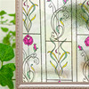 30/45/60*200 cm Static Cling Stained Frosted glass Window Film Golden pattern Room Door Privacy Protection Decorative Sticker