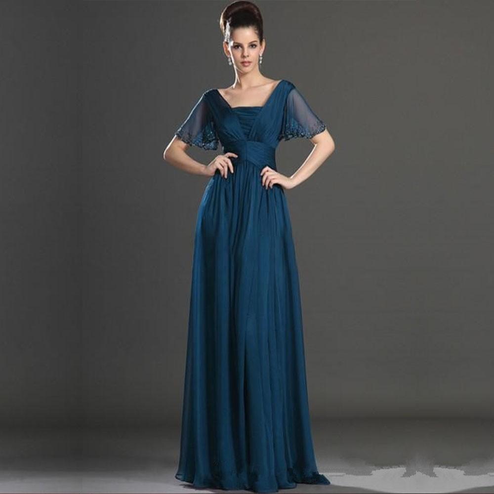 Elegant-Ink-Blue-A-line-Short-Sleeve-Beaded-Chiffon-Pleats-Long-Mother-Of-The-Bride-Dress