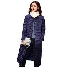 Ultra Light Down Jacket Women Long Puffer Coat Plus Size Winter Duck Brand Stand Collar Plus Capuz Lightweight Ultralight LYL213