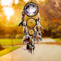 To ward off bad luck and protect you and your family wolf eagle dream catcher circular net feathers wall hanging ornamen decora