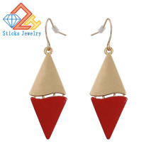 Fashionable Double Color Earrings (1Pair / Lot) 100% Zinc Alloy Electroplating Sprayed Ladies