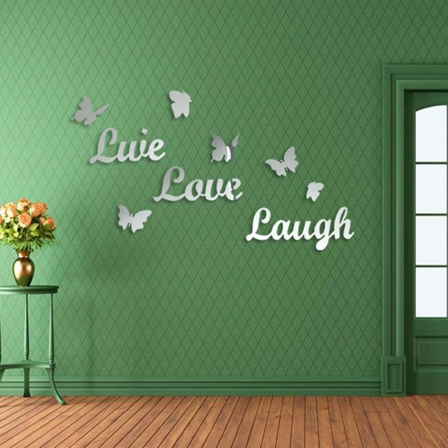 1 Set Home Decor Live Love Laugh Letters Wall Stickers Acrylic Mirror Wall  Art Stickers Wall