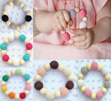 Baby Teether Pacifier Clip Handmade Natural Wooden Crochet Beads Ring Teething Shower Chewlery Baby Products Gifts(China)