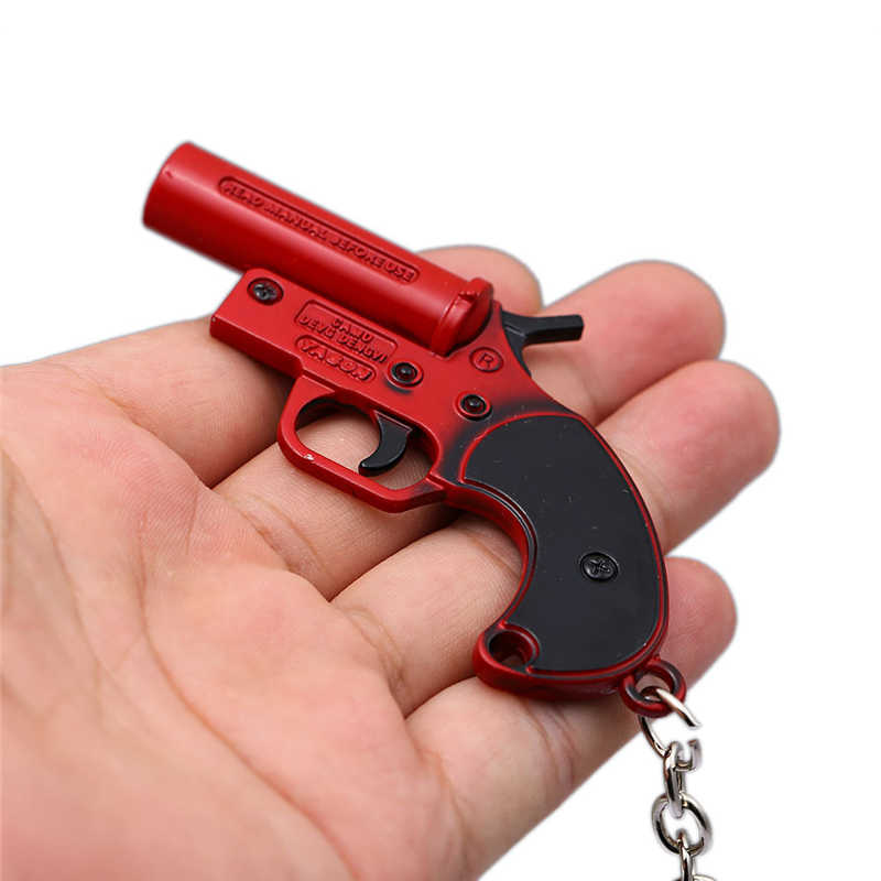 Pubg p92 vermelho sinal pistola revólver chaveiro chaveiro metal chaveiro playerunknown s battlegrounds armas pingente de carro presentes chave