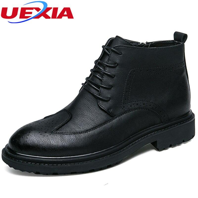 Designer Black Courte Cuir De Boot Caoutchouc Hommes Chaussures D'hiver Formelle En Cheville Uexia D'affaires Vache coffee Bottes Bureau pawq5AIn