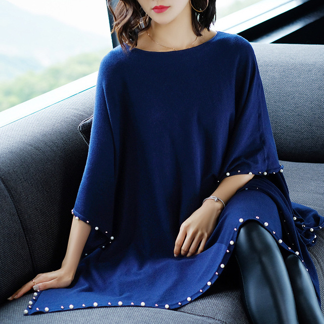 Autumn and winter casual women's solid color long section cloak shirt bat sleeve round neck pullover beaded shawl sweater 4