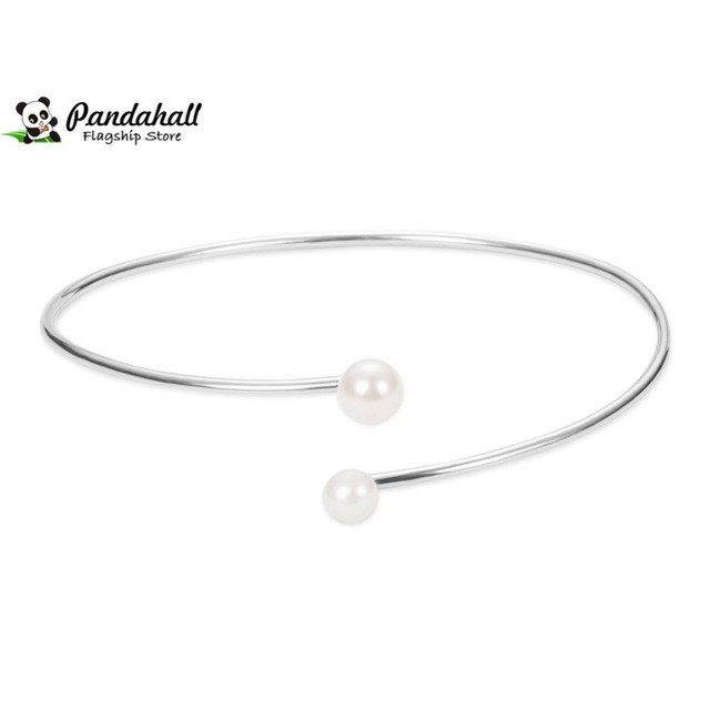 185mm Simple Sterling Silver Cuff Bangles with Shell Pearls Bracelets Manchette for Women Christmas Valentine Gift Pandahall