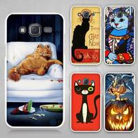Cat Cartoon Hard White Case Cover For Samsung Galaxy J1 J2 J3 J5 J7 C5 C7