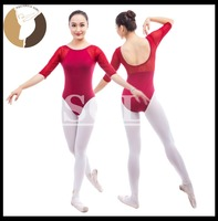 Half Sleeve Dance Leotards Girls Ballet Costumes Child Size Gymnastic Cotton Lycra Leotard With Mesh Girls