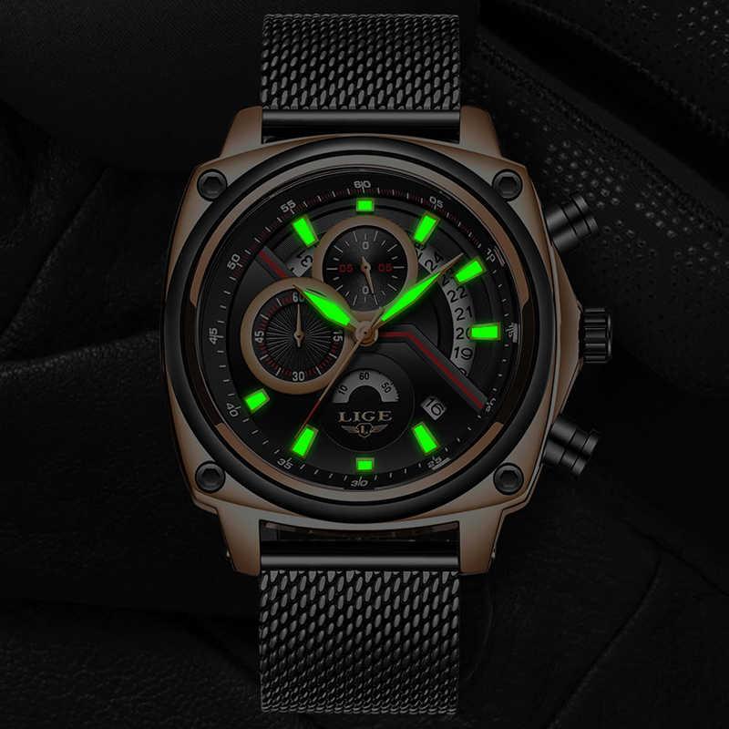 LIGE nuevos relojes de lujo para hombre, relojes deportivos de cuarzo para hombre, reloj de pulsera de acero completo para hombre, reloj de regalo