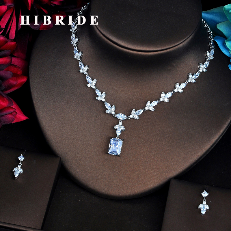 HIBRIDE AAA Clear Cubic Zircon Wedding Jewelry Sets For Women Necklace Set Fashion Dress Accessories Engagement Gift N-515