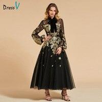 Dressv Black Evening Dress High Neck A Line Elegant Long Sleeves Ankle Length Wedding Party Formal