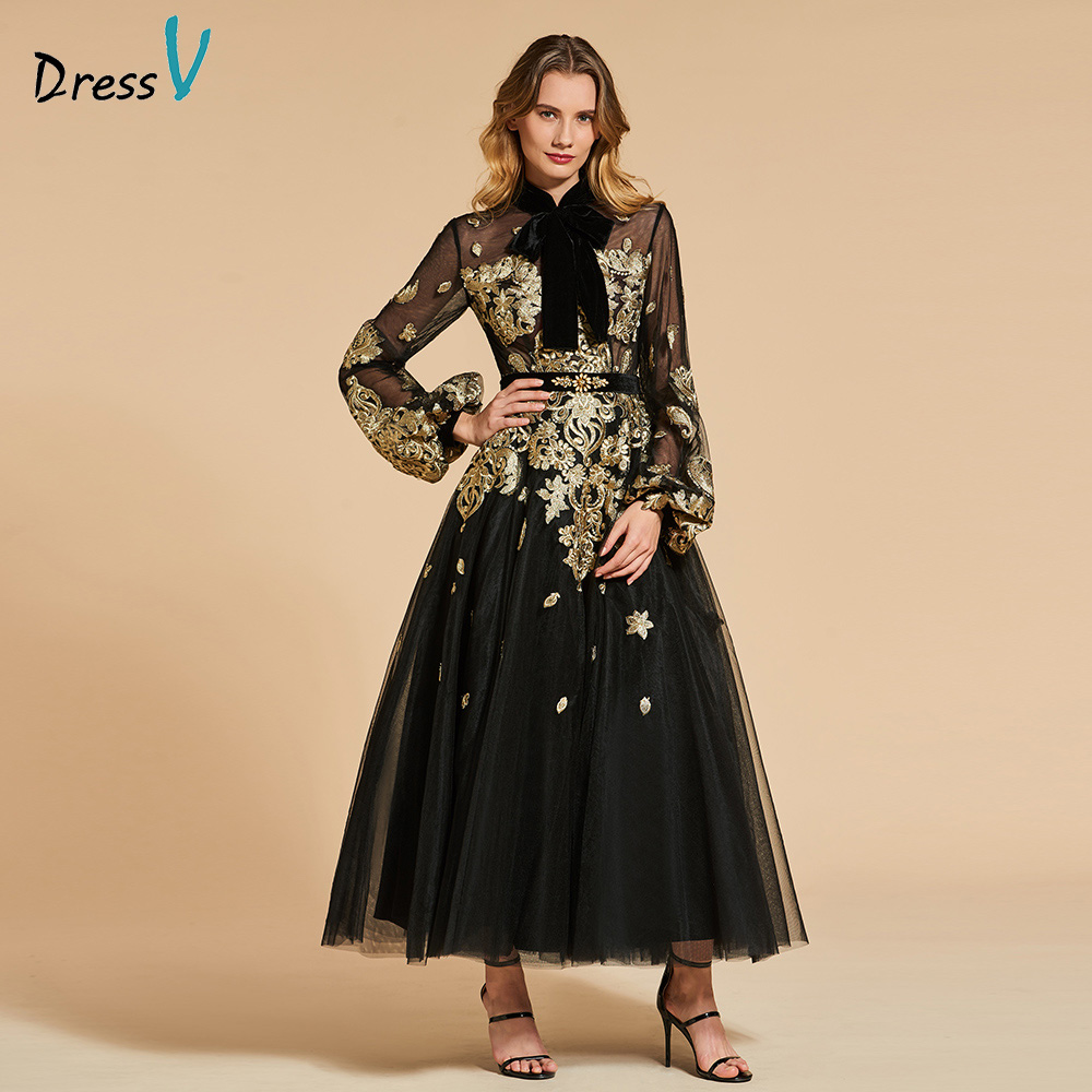 Dressv noir robe de soirée col haut une ligne élégante manches longues cheville-longueur de mariage partie formelle robe de soirée robes