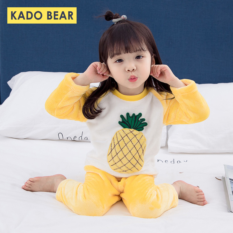 Girls Boys Cartoon Winter Sleepwear Kids Coral Fleece Warm Pajamas Sets Children Flannel Pyjamas Toddler Pijamas Baby Nightwear