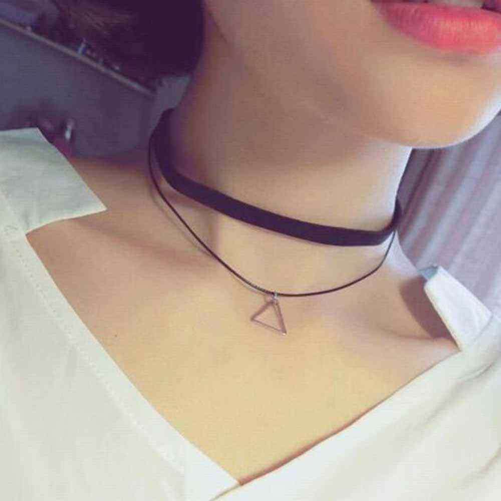 Chokers Necklaces For Women Triangle Geometric Pendant Necklace Collares Fashion Jewelry Bijoux Colar