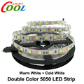 Double Color LED Strip 5050 / 5025 One Chip with Warm White and Cold White DC12V 60LED/m 5m/lot.