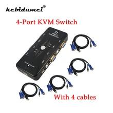 kebidumei 4 Port USB 2.0 KVM VGA SVGA Switch Hub Box Selector Adapter with 4pcs KVM VGA Cable for PC Keyboard Mouse Monitor