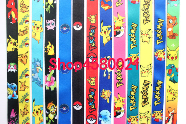 294 high quality 100pcs Cartoon Cute Straps Lanyard ID Badge Holders pokemon Mobile Neck strap