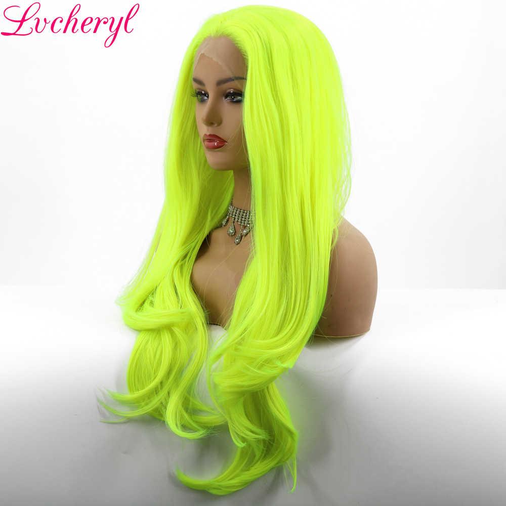 Lvcheryl naturalne fale neonowy żółty syntetyczna koronka przodu peruki dla Drag Queen makijaż wysoka temperatura ciepło odporne peruki Patry