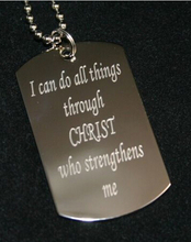 HOT SALES  I CAN DO ALL THINGS THROUGH CHRIST DOG TAG Pendants NECKLACE STAINLESS STEEL FH890263