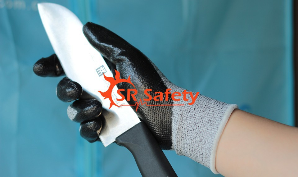 SRSAFETY 1 Pairs Nylon-HPPE Cut Resistant Nitrile Dipping Working Glove,Cut Level 3 anti cut safety glove hppe cut resistant work glove