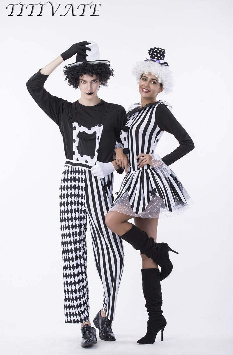 TITIVATE Halloween Circus Clown Costume Magic Burlesque Show & Tell Harlequin Cosplay Outfit Uniform Stripes Plaid Black For Men