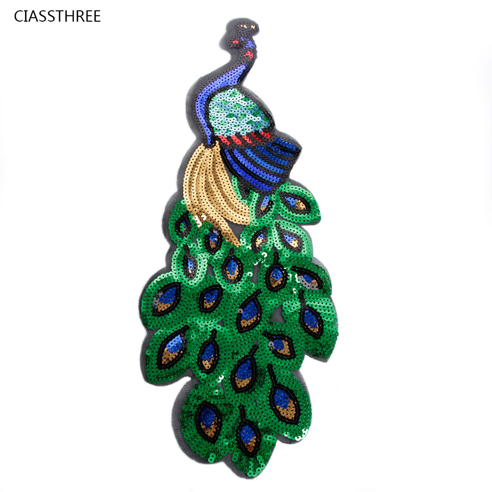 1Pcs Colorful Sequin Peacock Embroidery Fabric Large ...