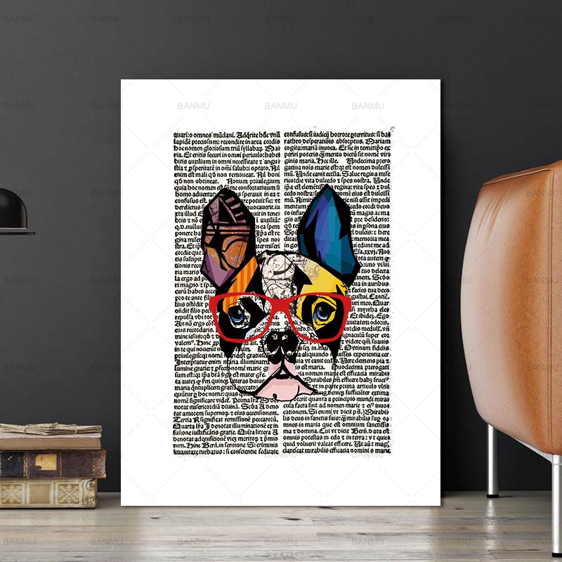 Nordic Animal Gentleman Cat Newspaper Vintage Dictionary Art Print Poster Wall Picture Canvas Painting Kids Room Decor No Frame