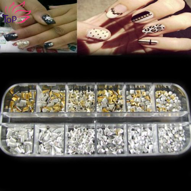 Rectangular Box Shiny Gold Silver 3D Nails Rivet Tips Glitter Nail Art Studs Decorations ZP062 Rhinestones For Nails manicure mioblet 2g box mirror effect nail glitter powder shiny rose gold purple mirror chrome powder dust nails art pigment diy manicure