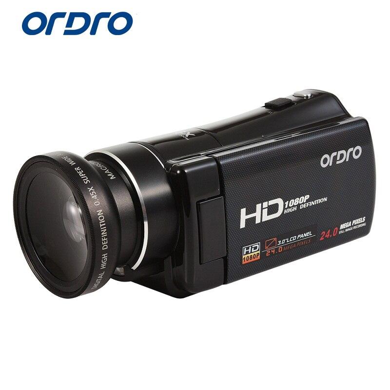 Caméra vidéo numérique Ordro HDV-V7 1080 P 30fps FHD caméscope avec objectif grand Angle et Kit de Micro lentille télécommande sortie HDMI